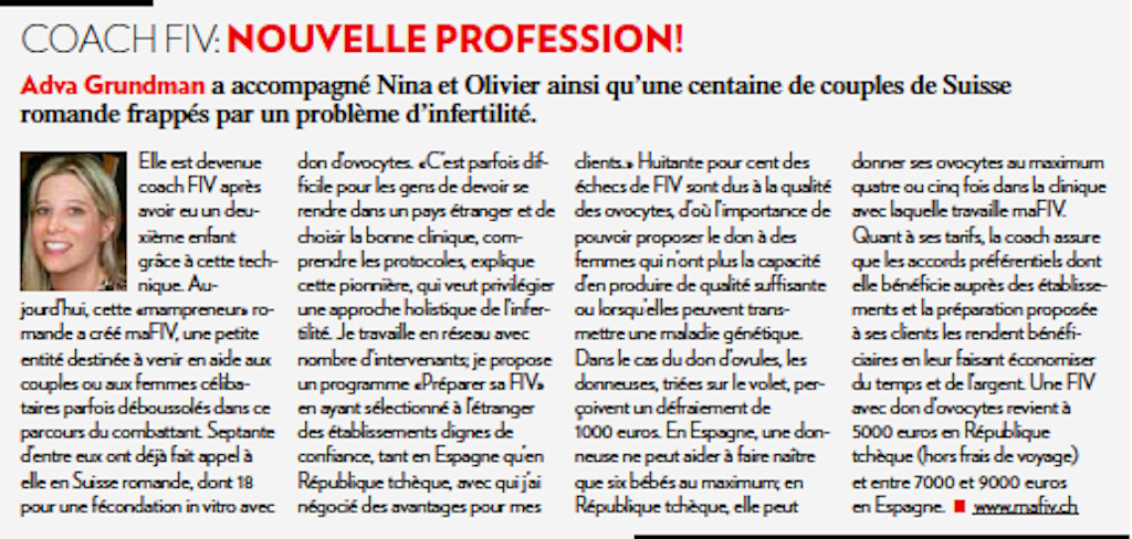 Article de l'Illustré, Coach FIV: nouvelle profession